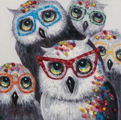 Schilderij uilen met bril 60x60   Schilderijenshop