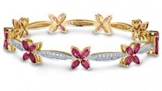 Forever Diamond (0.90 ct) & Marquise Ruby (4.32 ct) Bangle, 18K Yellow Gold (16.71 gms total weight)