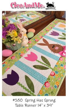 Not a finished product. This listing is for the PATTERN ONLY. This pattern will make one table runner as pictured and described below.  Spring Has Sprung, my latest design just in time for Easter! This runner is fast and fun to make using easy piecing and fusible appliqué methods. My Easter bunny has button eyes and wears a sporty bow tie made from a polka dot print. Finished size: 14 x 39.  This pattern is new and unused, designed and copyrighted by Barbie Jo Paquin for Cleo And Me…