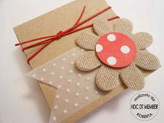 Could make a cute little mushroom with burlap and scrapbook paper Crafts To Do, Paper Crafts, Diy Crafts, Baby Favors, Appreciation Gifts, Card Tags, Cute Cards, Birthday Thank You, Gift Wrapping