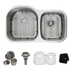 """View the Kraus KBU27 35-1/8"""" Undermount 60/40 Double Bowl 16 Gauge Stainless Steel Kitchen Sink at FaucetDirect.com."""