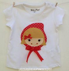 """Camiseta """"érase una vez"""", parte delantera con caperucita Roja.. Para ver más visita --> http://lascosasdehechoamano.blogspot.com.es/"""