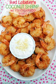Easily make this copycat recipe for Red Lobster's Parrot Bay Coconut Shrimp complete with Pina Colada Sauce in the comfort of your own home! This recipe produces great results with all the same flavors of your favorite restaurant shrimp. The shrimp are du Coconut Shrimp Recipes, Fish Recipes, Seafood Recipes, Cooking Recipes, Healthy Recipes, Recipes Dinner, Lobster Recipes, Red Lobster Coconut Shrimp Sauce Recipe, Coconut Fried Shrimp