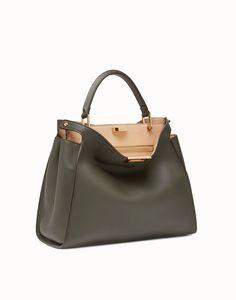 FENDI PEEKABOO ESSENTIAL - Gray-green leather handbag - view 2 detail New  Handbags, 12435826d0