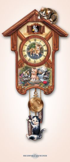 Happy tails are finally here! This limited-edition wall clock showcases the adorable kitten artwork of Jurgen Scholz all over, with full-sculpted kitties perched on top and hanging from the hanging weights. And just wait until you see who pops out every hour on the hour. The cats know and they will be waiting.