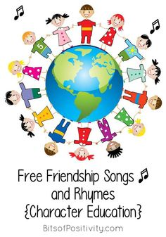 Lots of free friendship songs and resources for one of the 3 Olympic core values. Character education songs and resources for a variety of ages - Bits of Positivity Preschool Friendship, Friendship Theme, Friendship Activities, Songs About Friendship, Songs For Toddlers, Rhymes For Kids, Preschool Songs, Preschool Themes, Neil Armstrong