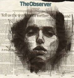 Guy Denning, London, 2012. Mixed Media, Week 5, Eduardo. The use of paper here is very emotive, as if the words on the page are linked intrinsically to the figure depicted. Solemnity and a sense of fear is alluded to via the depth and shadow that is built. By leaving the highest points of the face blank, the raw paper aids in highlighting the face.