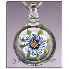 Flower Glass Pendant - Boro Lampwork Jewelry by GlassPeace $26.95