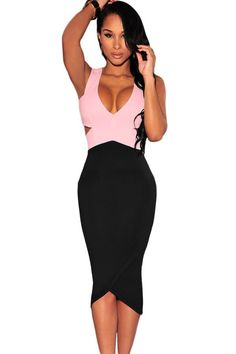 6135898d9b Black Pink Sexy Cut-Out Midi Dress