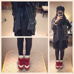 .....Lazy outfit. Bad hair and everything goes together with black. #givenchy leather vest #jilsander beanie #zara cardigan #japanese fuzzy dress #aliceandolivia leather leggings #isabelmarant #wedgesmeakers #sneakers #kicks #style #fashion #blogger #msneakerpimp #whatiwore #wearingnow #picoftheday #photooftheday