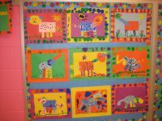 "Kindergarten - Shape art (scroll down mid-page [Use with the book ""Color Zoo""] Kindergarden Art, Construction Paper Art, Kindergarten Art Lessons, Elementary Art Rooms, Fall Art Projects, Shape Art, Preschool Art, Preschool Activities, Art Classroom"