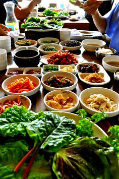 Typical korean table - the table is about to break from so much food! Andong, South Korea