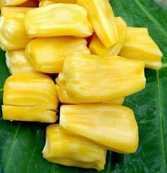 Ripe jackfruit, peeled and ready to eat. Exotic Food, Exotic Fruit, Tropical Fruits, Fruit Plants, Fruit Trees, Ripe Jackfruit, Jackfruit Tree, Spice Trade, Weird Trees