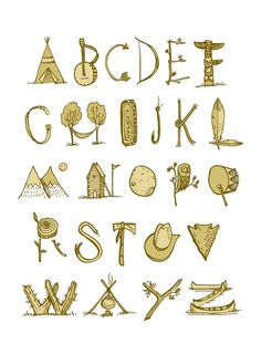 Items similar to Wild West Alphabet illustration, digital print, on Etsy Alphabet Design, Hand Lettering Alphabet, Alphabet Art, Calligraphy Alphabet, Alphabet And Numbers, Letter Art, Creative Lettering, Lettering Design, Writing Fonts