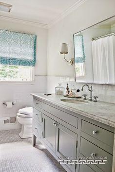 White Double Bathroom Vanity Blue Mosaic Tiles Backsplash