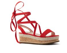 Flatforms Κόκκινα σουέτ lace-up και φελό στην σόλα Espadrilles, Lace Up, Wedges, Sandals, Shoes, Fashion, Espadrilles Outfit, Moda, Shoes Sandals