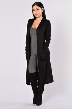 duster $27 Available in Black Draped Open Front Hoodie Maxi Length Side Pockets Thumb Holes on Sleeve Hem Thermal Fabric 95% Rayon 5% Spandex