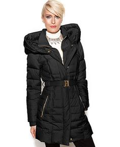 9455295ee95 kensie Hooded Quilted Belted Down Puffer - Coats - Women - Macy s Long  Black Winter Coat