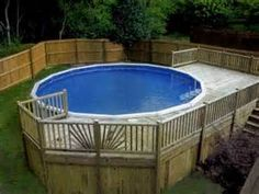 heres a lovely above ground pool deck with an open staircase and - Above Ground Pool Privacy Deck