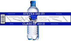 GRADUATION WATER BOTTLE  Self-adhesive Labels Personalized Graduation favors Graduation water bottle labels