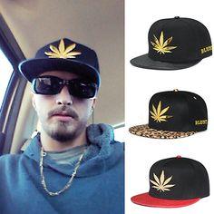 Women's Men's Leopard Leaf Hiphop Snapback Casual Flat Brim Baseball Cap Hat #Affiliate