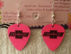 Hot pink CHEVY CHEVROLET bow tie symbol guitar pick by featherpick, $6.00