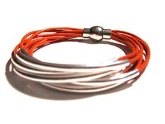 Orange Leather Cuff Bracelet with Silver or Gold by wrapsbyrenzel, $15.99