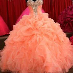 Wholesale Quinceanera Dresses - Buy Ruffled Tiered Beaded Orange Pink Chiffon Quinceanera Dress Ball Gown Quinceanera Gown with Rhinestones And Sweetheart Neckline