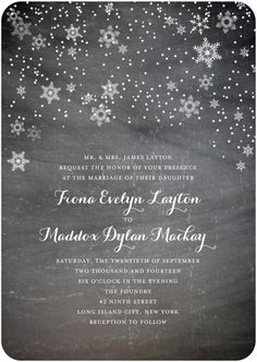 Signature White Wedding Invitations - Dark Snowfall by Wedding Paper Divas