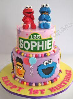 Image result for girl's sesame street 1 tier fondant cake