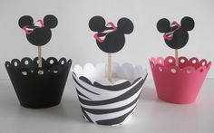 Cupcake Toppers, Minnie Mouse zebra