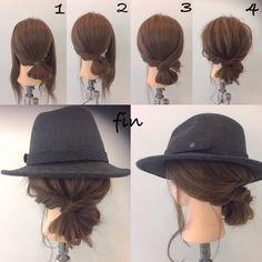 Messy bun w hat