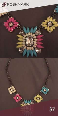 Funky, feminine necklace Beautiful necklace with pink, yellow, teal and rhinestones. The chain is black. Jewelry Necklaces