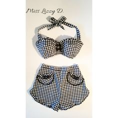 dd50ae8cc62 Retro 60s Gingham 2 piece Playsuit by MissLizzyD on Etsy Pin Up Outfits