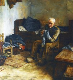 Walter Langley (English Painter) 1852 - 1922 A Flemish Peasant, ca. 1907 oil on canvas 103 x 95 cm.