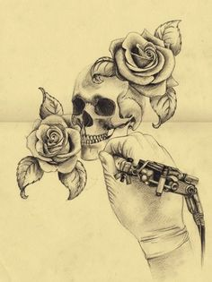 Skull and Roses Tattoo I love everything but the hand!