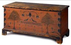 Colonial Sense: Antiques: Auction Results: January, 2018 Wooden Chest, Furniture, Blanket Chest, Primitive Decorating, Painted Furniture, Vintage Farmhouse Decor, Painted Chest, Primitive Furniture, Shabby Chic Furniture