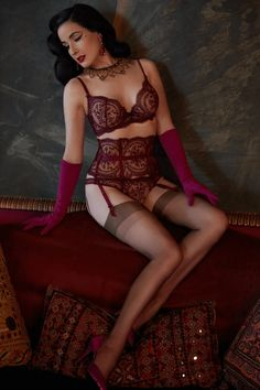 Dita Von Teese Severine Underwire Bra Dark Cherry – Rebel Romance Nylons, Pantyhose Outfits, Dita Von Teese Lingerie, Delicate Tattoo, Sheer Bra, Bikini, Beautiful Lingerie, 34c, Cool Suits