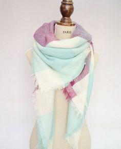 Blanket Scarf -Unisex Large Zara Plaid Blanket Scarf Tartan Checked Warp Shawl Pashmina Wool Scarf. by KYSAA on Etsy