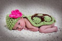 Crocheted Baby Hawaiian Honu / Turtle Hat by playingreindeergames
