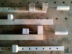 Bar clamps pushing blocks and screwed rod