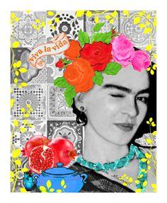 Frida Kahlo Winking Viva La Vida Print Mixed Media door ARTDECADENCE, $14.00