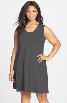 Eileen Fisher Sleeveless Jersey Soft V-Neck Shift Dress (Plus Size) available at #Nordstrom