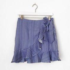 Unbranded Skirts | Striped Side Tie Ruffle Hem Mini Skirt | Poshmark Stripe Skirt, Blossoms, Ruffles, Mini Skirts, Blue And White, Stripes, Tie, Swimwear, Outfits