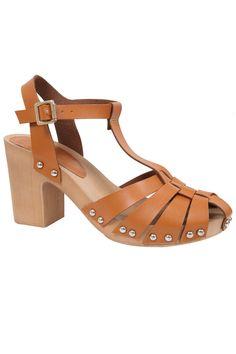 Tan Strap Block Heel Sandal With Wooden Effect Sole