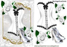 WHITE BLACK BASQUE WITH SHOES AND WHITE ROSES on Craftsuprint - Add To Basket!