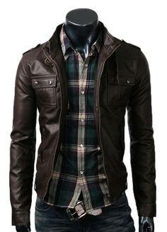 strap pocket dark brown jacket_$189