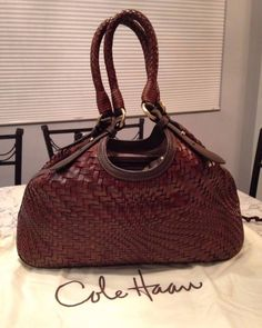 Cole Haan Genevieve Woven Leather Brown Hobo Tote Shoulder Hand Bag Purse EUC! #ColeHaan #TotesShoppers GORGEOUS!!! BEAUTIFUL CHOCOLATE BROWN WOVEN LEATHER BAG!!! SALE!!! WOW!!!
