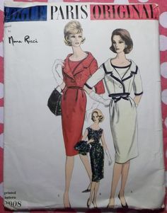Vintage 1960 Vogue Paris Original 1008 Nina Ricci Pattern, One Piece Dress and Bolero Jacket