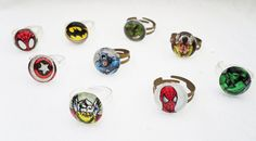 Upcycled Comic Book Superhero Rings DC and Marvel by Balooga, $4.49